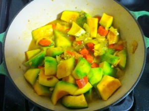 A bad photo of my squash cooking